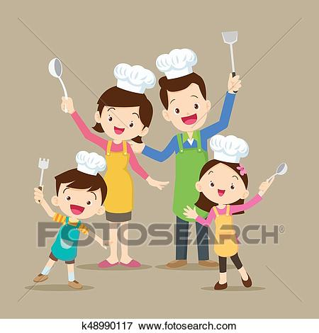 Cute family cooking Clip Art.