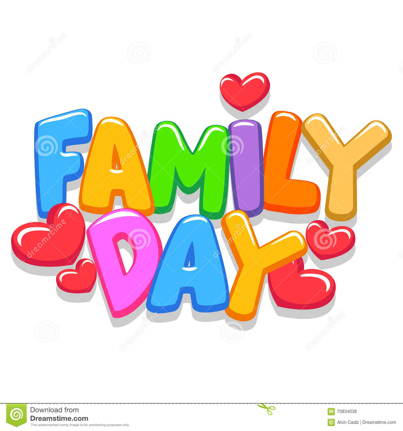 Family Day 3d Letters Stock Illustrations.