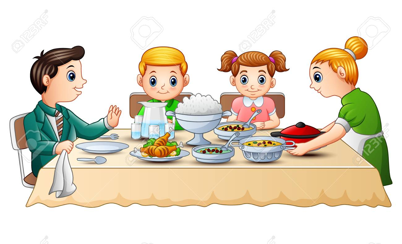 Vector illustration of Happy family eating dinner together on...