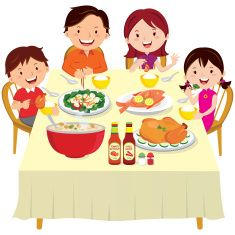 Family eating happily..