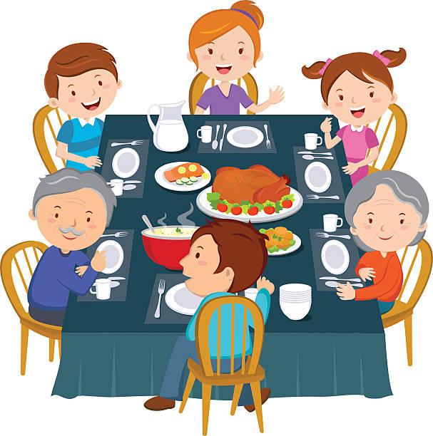 Best Family Dinner Table Illustrations, Royalty.