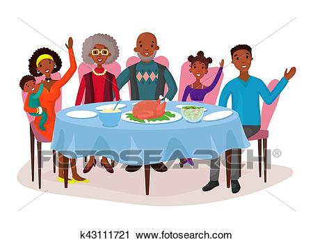 Happy afro american family at dinner table Clipart.
