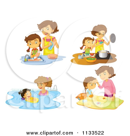 Mother Doing Household Chores Clipart.