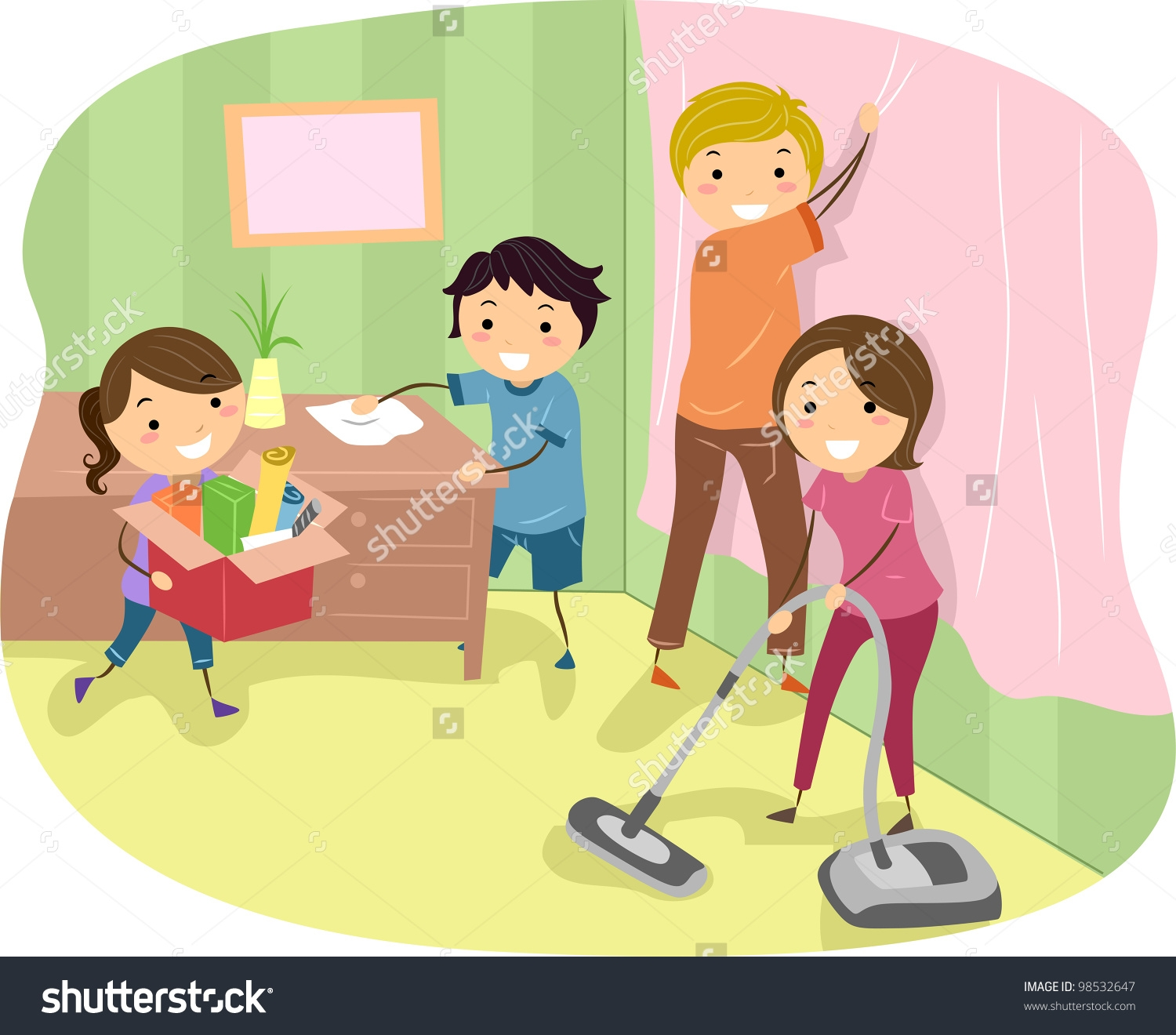 Family Doing Household Chores Together Clipart.