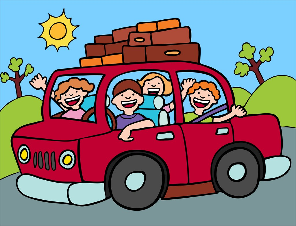 family and kids driving in a car clipart.