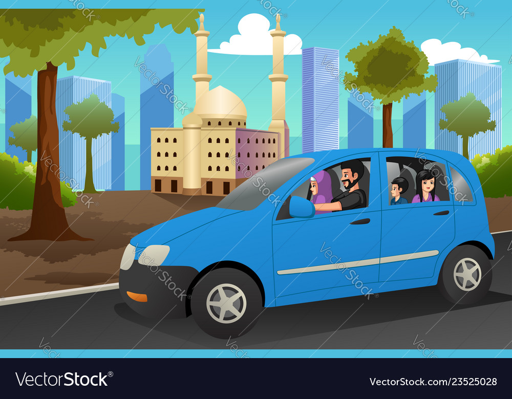 Muslim family driving in a car.