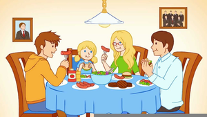 Family Eating Together Clipart.