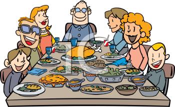 Family Eating Thanksgiving Dinner Clip Art.