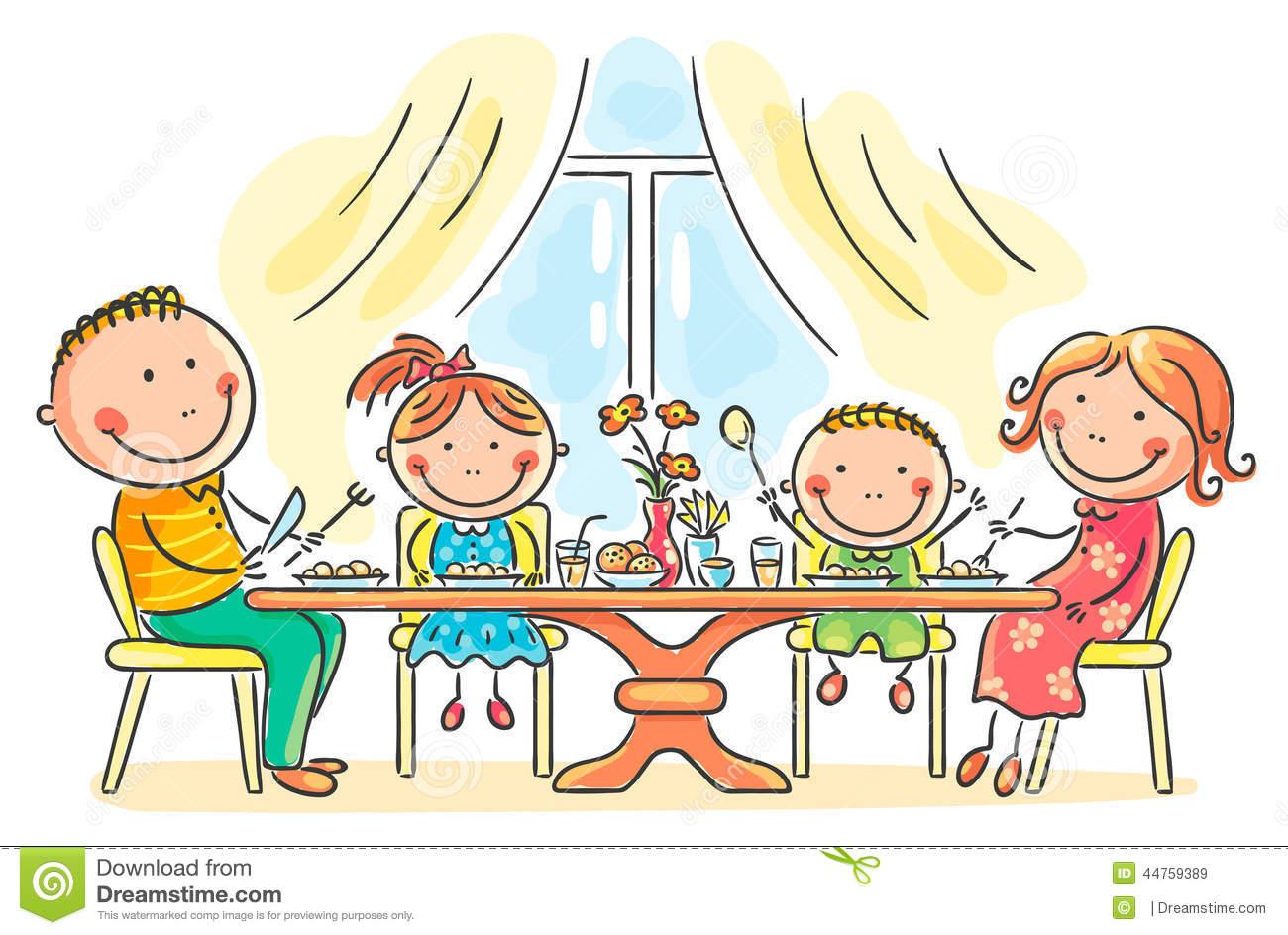 Family Dinner Stock Illustrations.