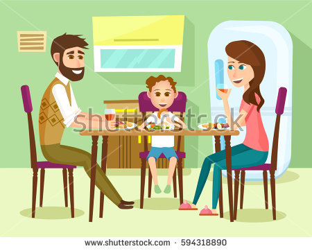 Family Eating Dinner Stock Illustrations Images Vectors