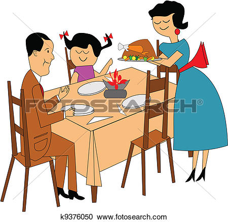 Stock Images of Happy family having roast chicken dinner at table.