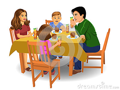 Family Eating Dinner Stock Photography.