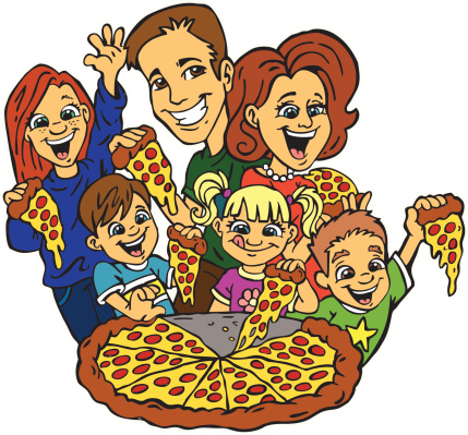 Drawing Of A Family Eating Pizza Clip Art, Vector Images.