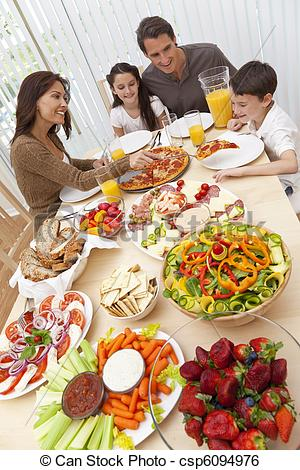Stock Image of Parents Children Family Eating Pizza & Salad At.