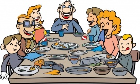 Family Eating Pizza Clipart.