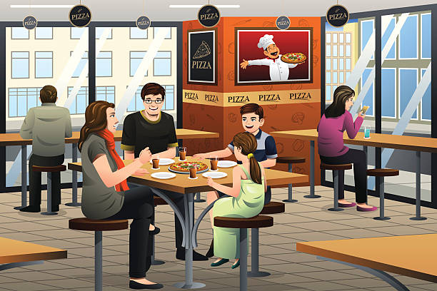 Family Eating Pizza Clip Art, Vector Images & Illustrations.