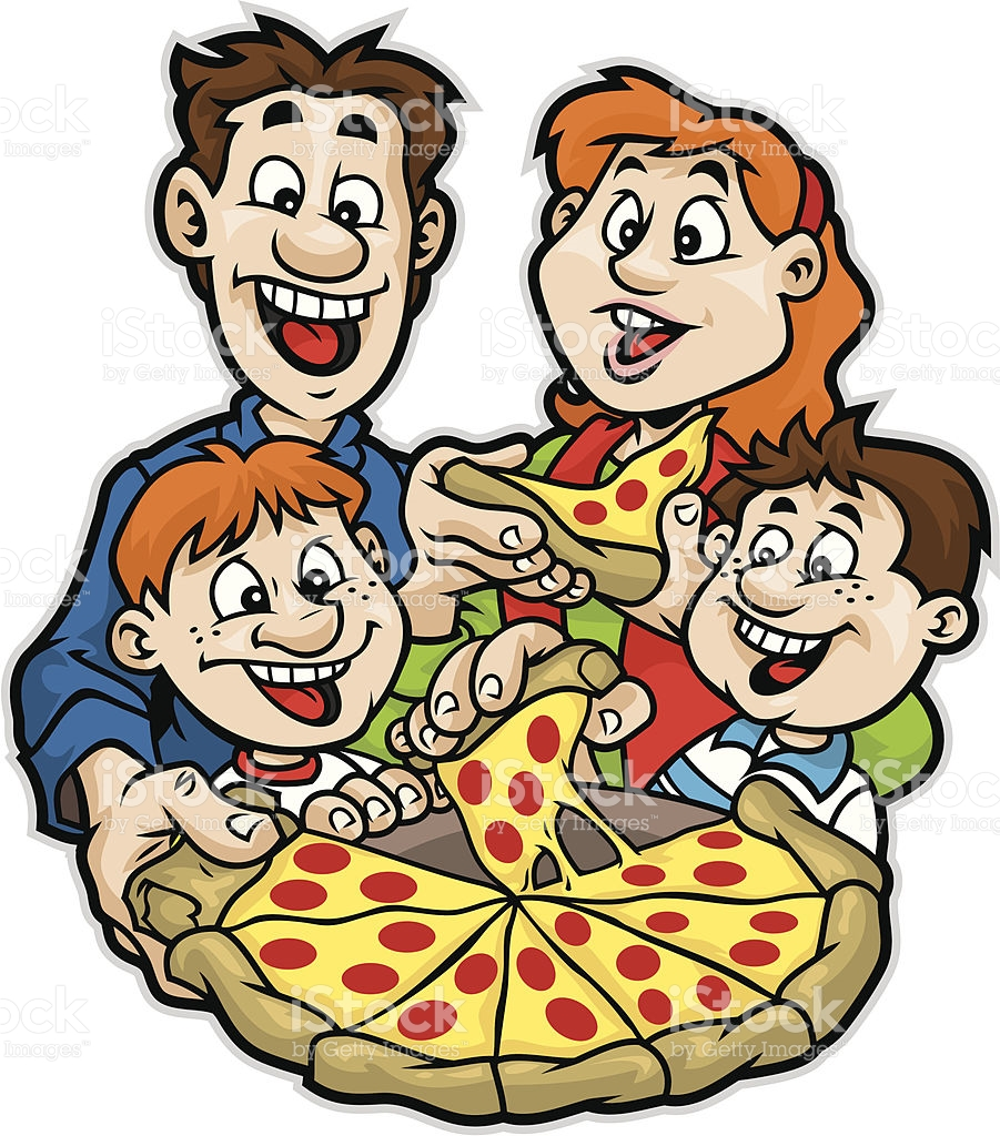 Family Pizza Night stock vector art 165720208.