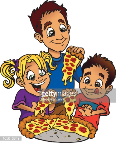 Family Pizza Night Vector Art.