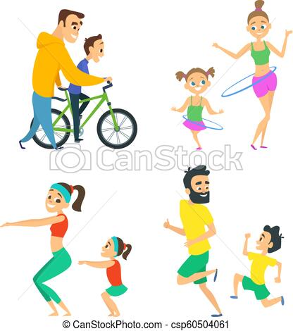 Set of family couples in fitness activities. Parents playing in active  games with their children.