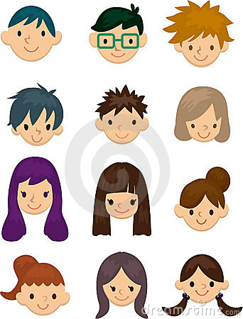 Cartoon People Faces Clipart.