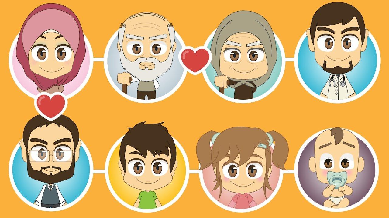 Grandparent clipart family member faces, Grandparent family.