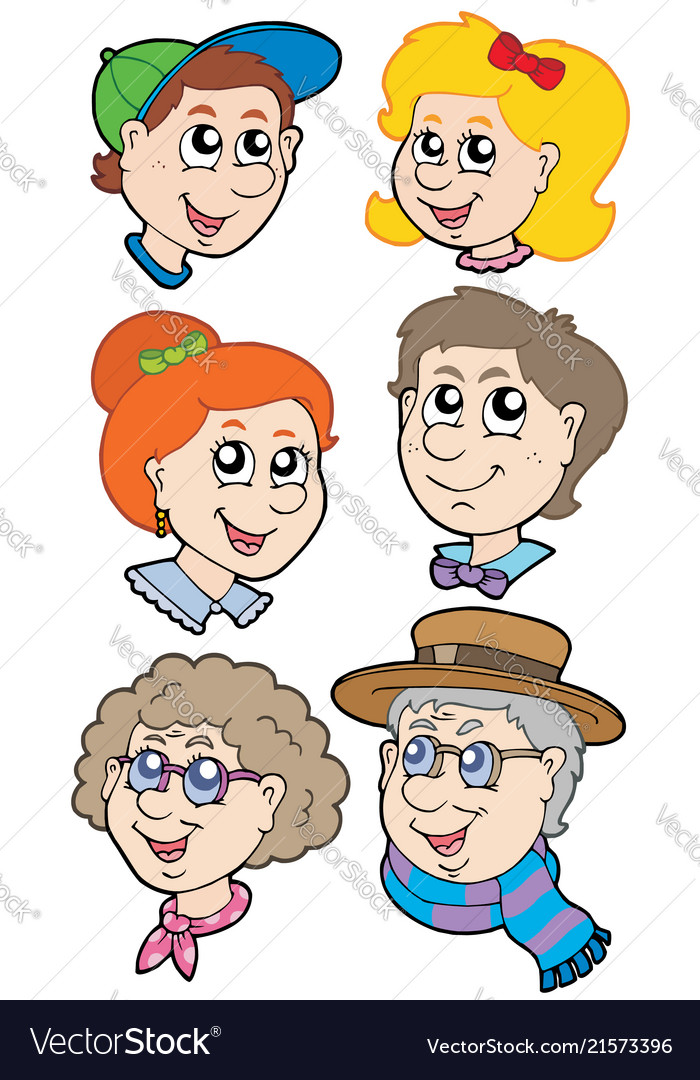 Family faces collection.