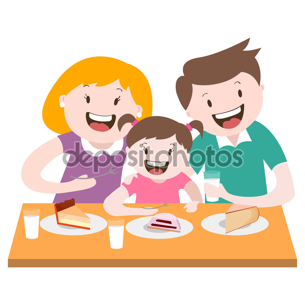Happy family , a family dinner , vector graphics — Stock Vector.