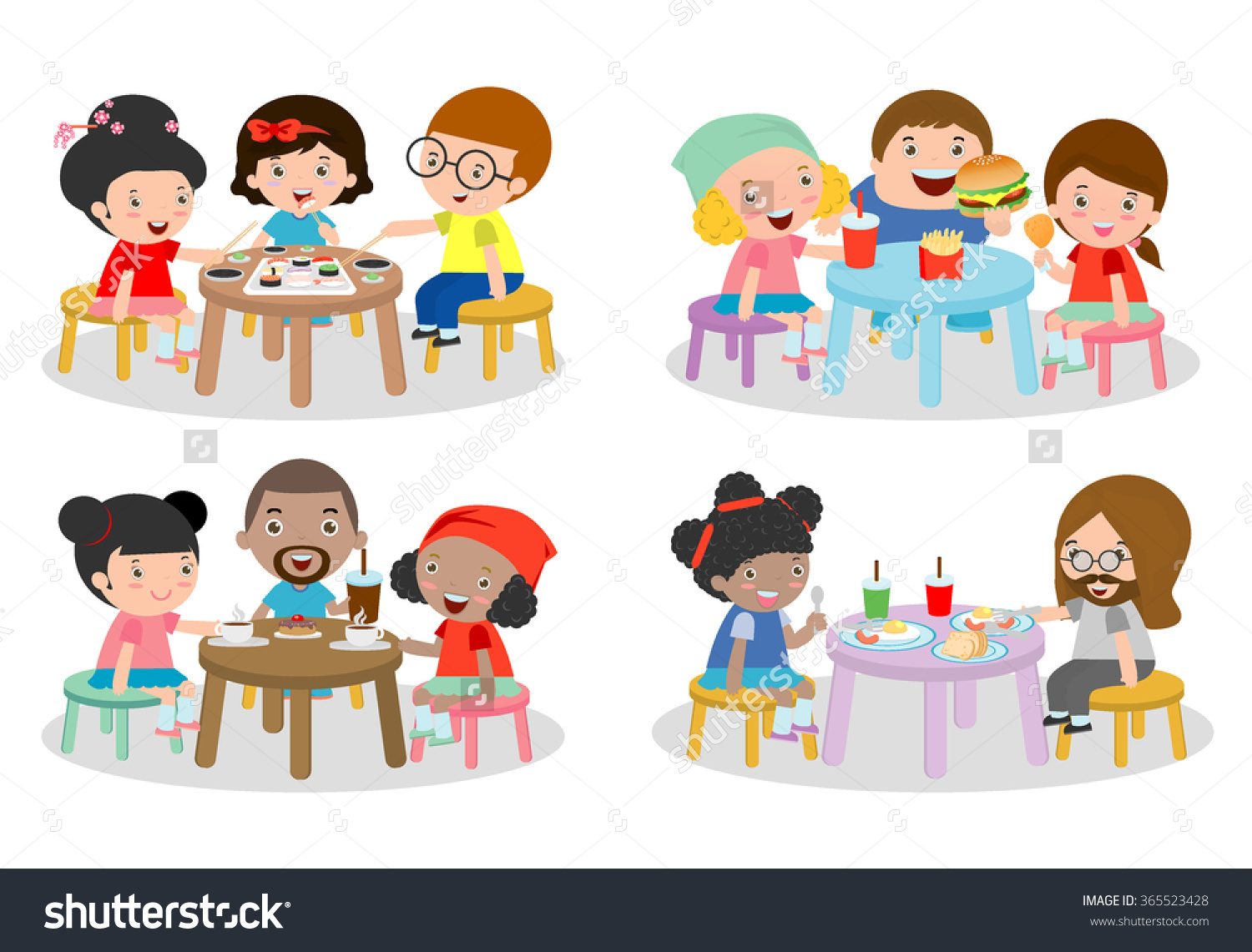 Set Family Sitting Dining Table Family Stock Vector 365523428.