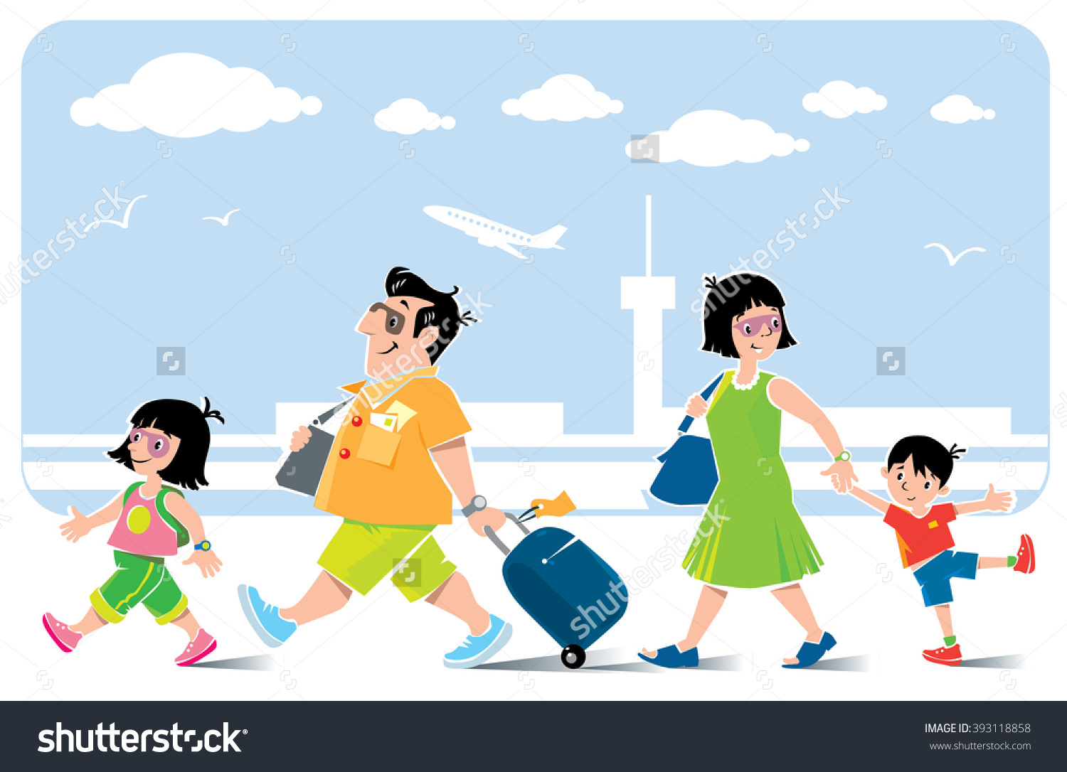 Funny Family Airport Vector Illustration Fast Stock Vector.