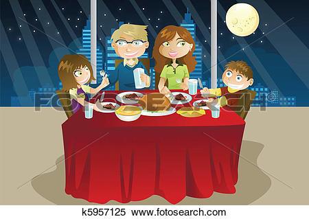 Clipart of Family eating dinner k5957125.