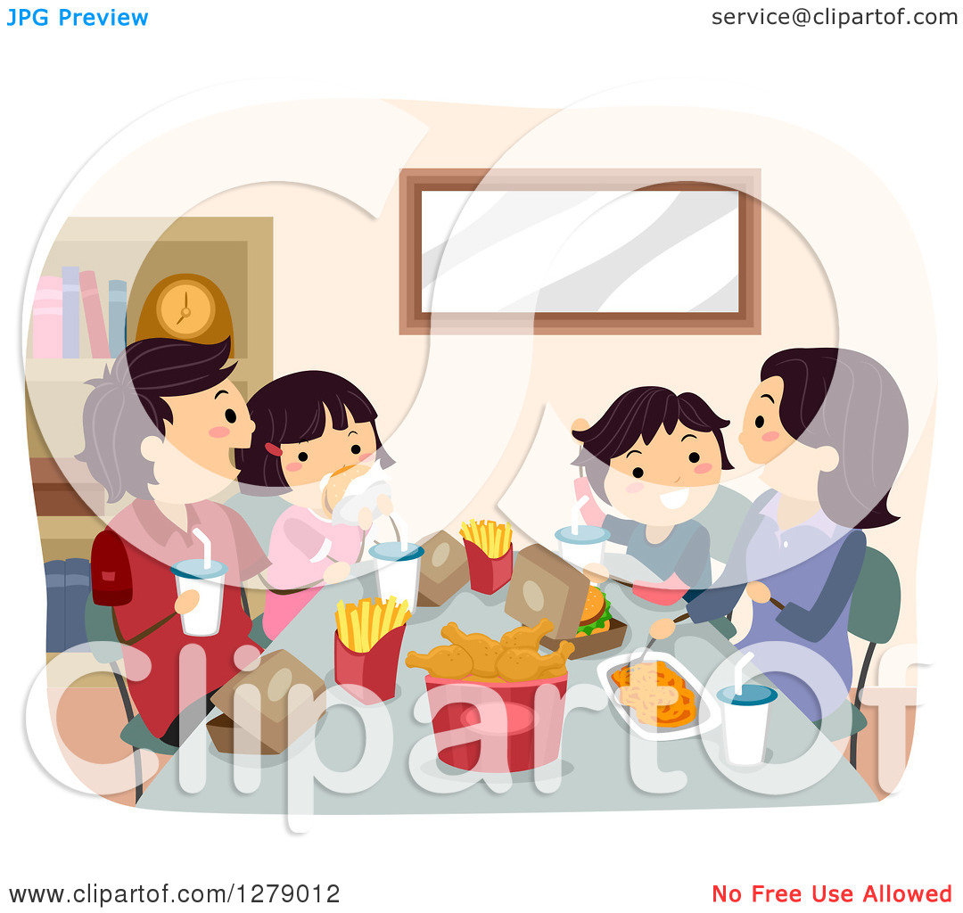 Clipart of a Happy Asian Family Eating a Fast Food Dinner.