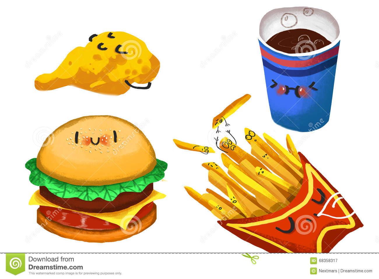 Clip Art Set: Hamburger Family. Stock Illustration.
