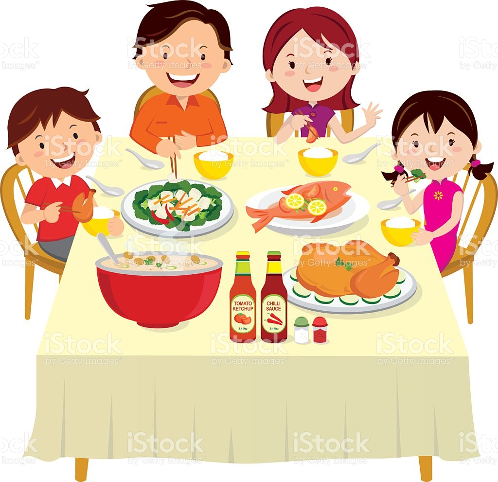 Clip Art Vector Images Illustrations Family Eating Dinner