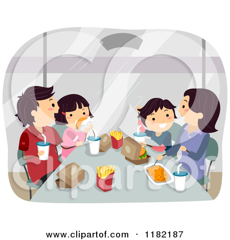 Cartoon of a Happy Asian Family Eating Fast Food.