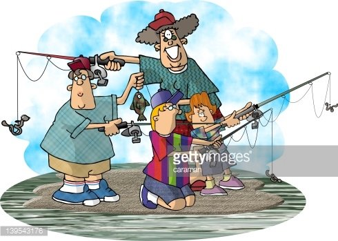 Family Fishing Clipart Image.