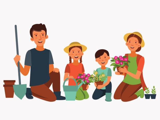 Best Family Garden Illustrations, Royalty.