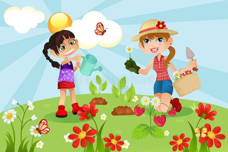Cartoon Gardening Family Stock Illustrations.