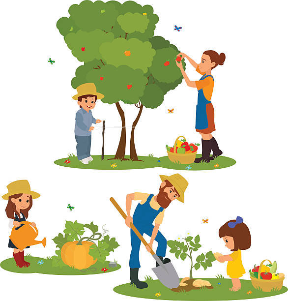 Best Family Gardening Illustrations, Royalty.