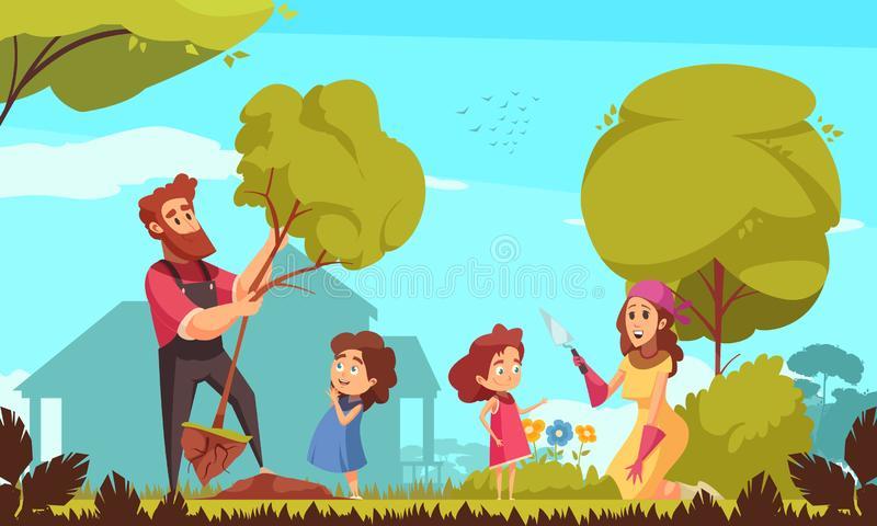Family Gardening Stock Illustrations.