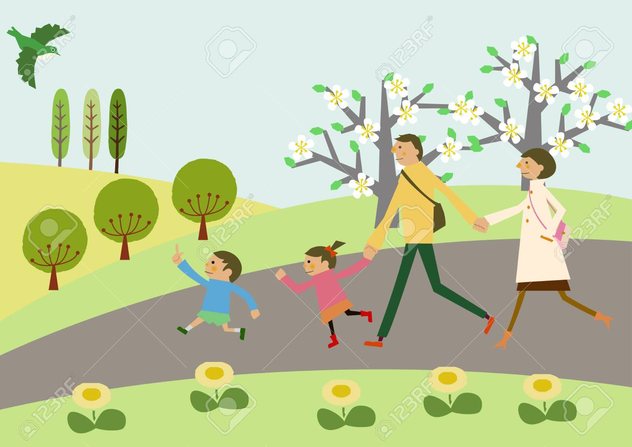A family trekking. Spring landscape. Image of spring. Cherry...