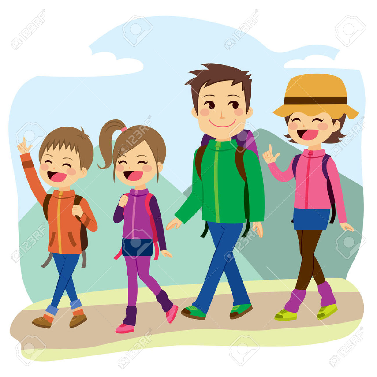 Family Hiking Clipart.