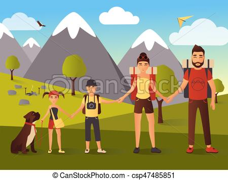 Vector flat illustration of happy family in the mountains.