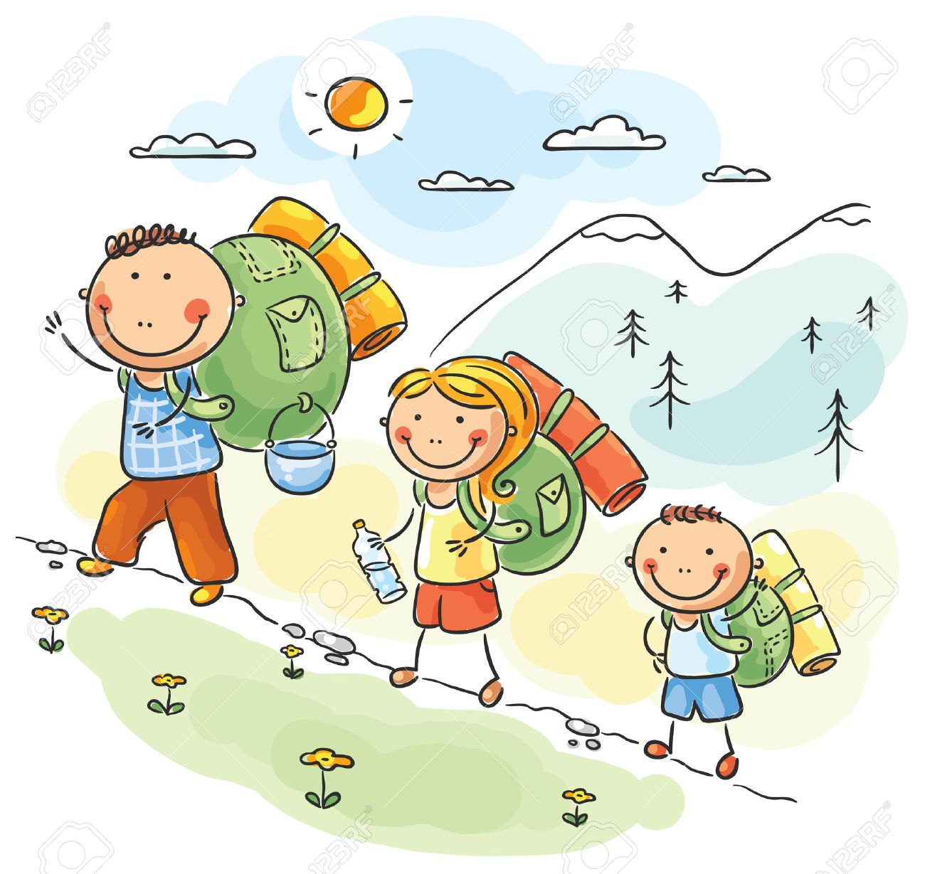 Cartoon family hiking in the mountains.