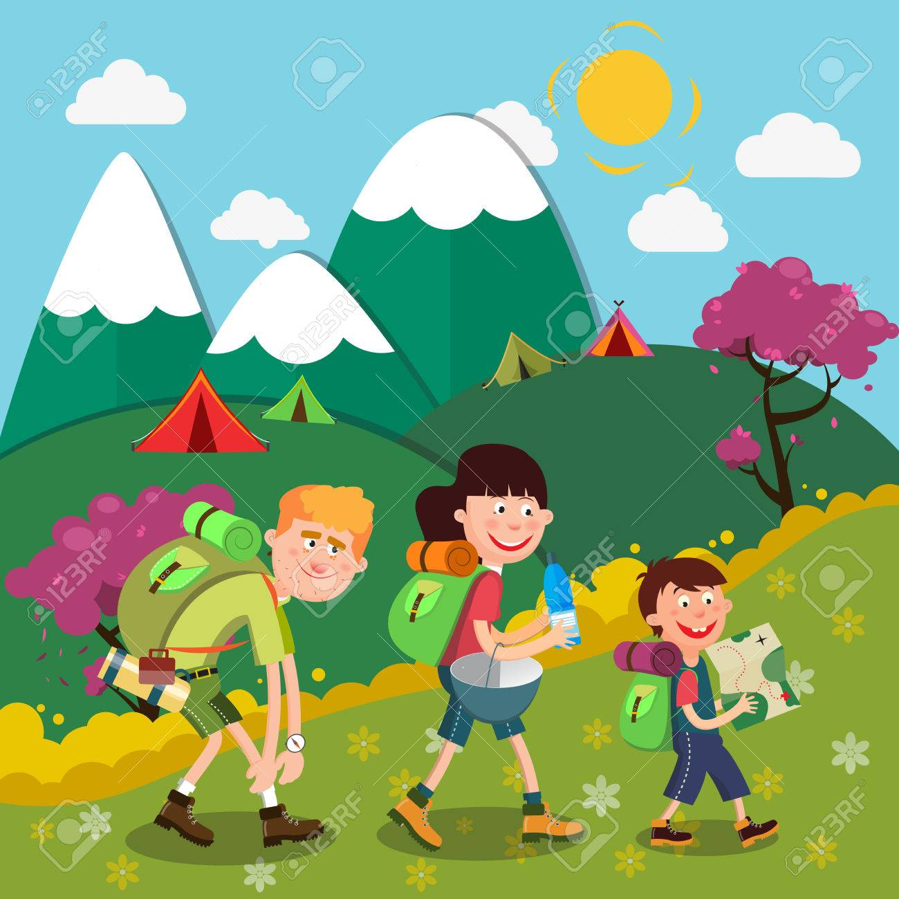 Happy Family Hiking on the Mountains. Family Weekend. Vector...