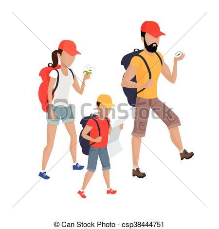 Family Hiking Concept Illustration..
