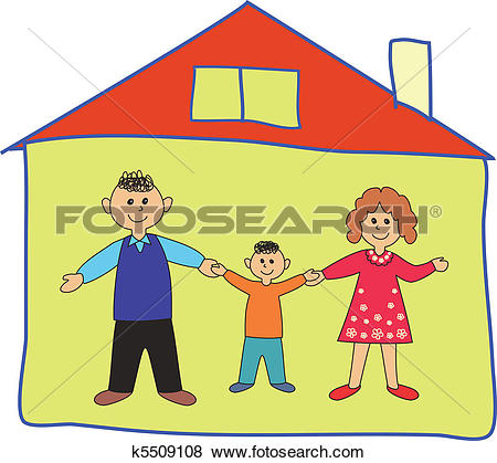 Clip Art of Family house parents kids inside safe home k5646159.