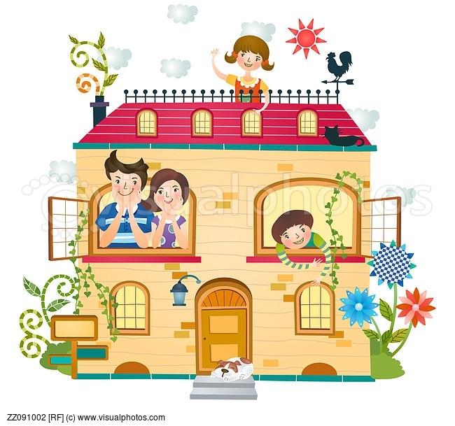 Family at home clipart.