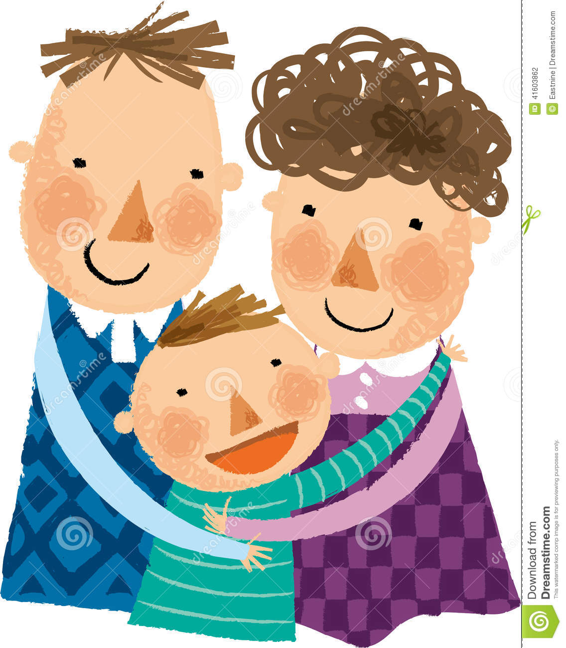 Family Hugging Clipart.