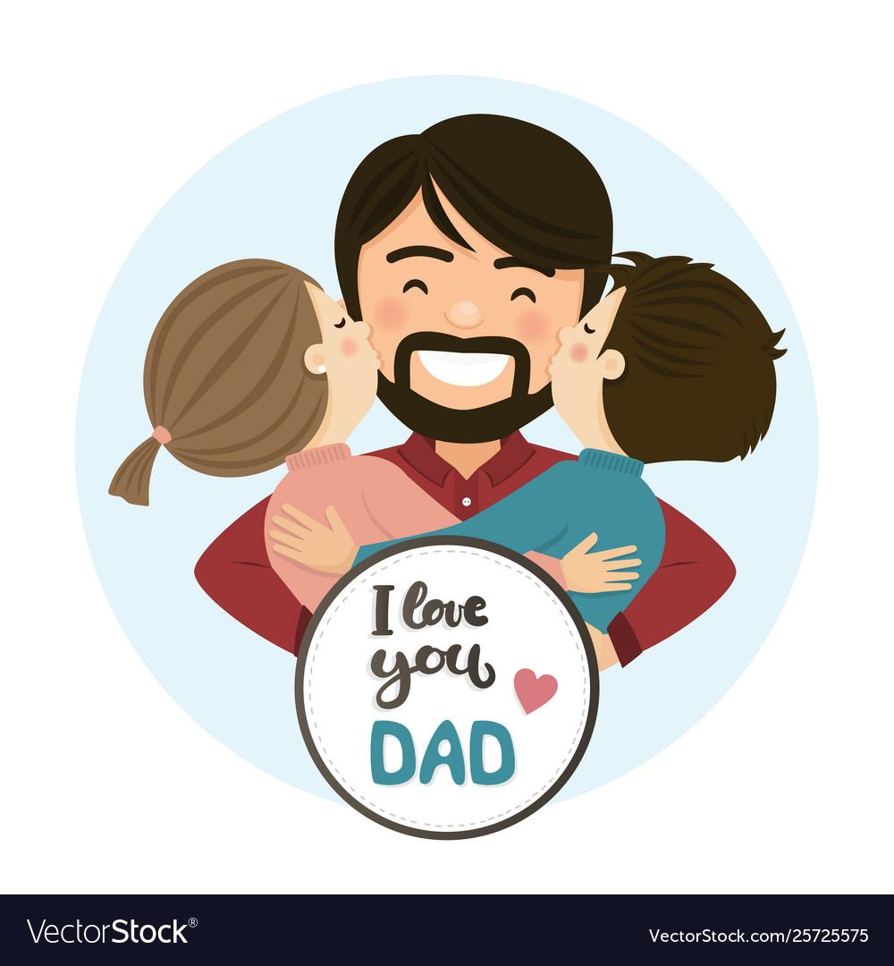 Happy fathers day scene family hug.
