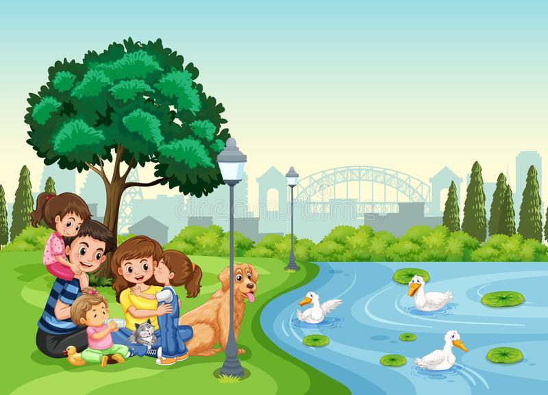 Family Park Stock Illustrations.
